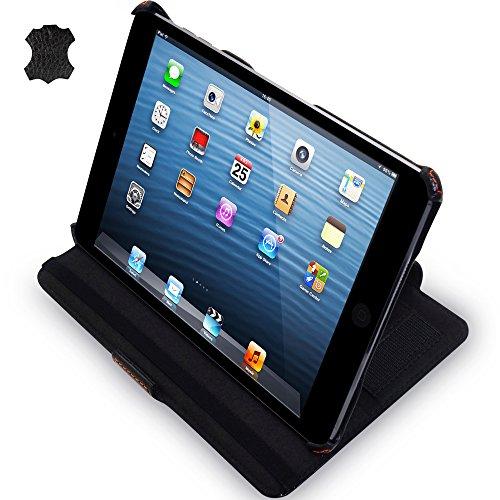 Manna Echt Leder Ultra Slim Smart Cover Case mit CleverStrap für iPad Mini (Ipad 2 Portfolio-fall)