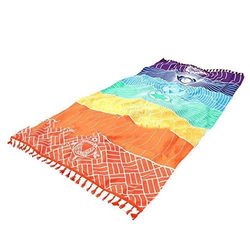 Gestreiften Strand Handtuch (Monicnaine Wandbehang, Regenbogen-Design, gestreift, Boho-Stil, auch geeignet als Strand-Handtuch / Yogamatte etc., Polyester, mehrfarbig, Einheitsgröße)