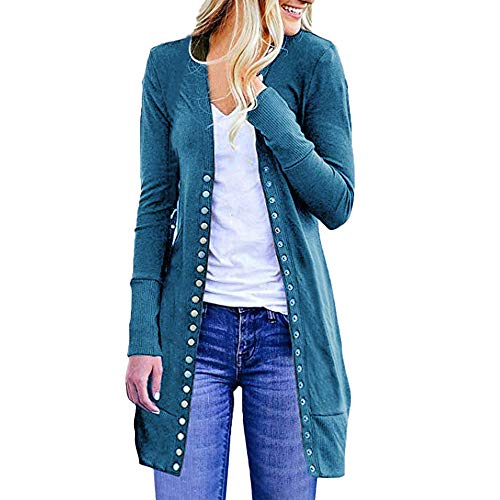 Oliviavan,DamenÖffnen Sie vorne Button Down Cardigan Pullover Langarm Plus lose Drape Herbst Cardigan Bluse Mäntel Outwear Elegant Wolljacke Lange Strickjacke