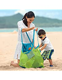 Green : Mesh Tote Bag Clothes Toys Carry All Sand Away Beach Bag Portable Box