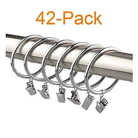 Alytimes 42-pack Anneaux de rideaux en métal avec clips (2,5cm, Argent)