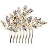 XSM Femmes mariage peigne à cheveux de mariée chic feuille d'or peigne à cheveux décor bijoux de mariée coiffures (doré)
