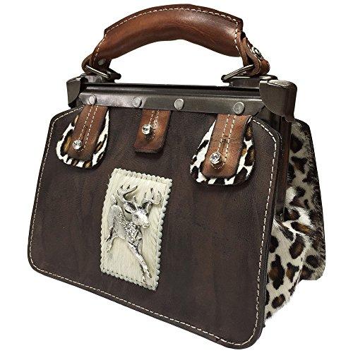 Trachtentasche Handtasche Trachten-Tasche versilbert Swarovski-Elements Unikat! (Bag Handtasche Purse Fell)