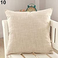 Amesii – Funda cuadrada para cojín con diseño de un solo color, funda de lino decorativa, para sofá y decoración
