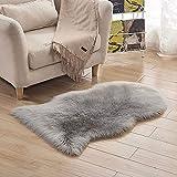 INMOZATA Faux Fur Sheepskin Rug Fluffy Rug Seat Pad Carpet Soft for Living Room Bedroom Sofa Chair Floor 60X90 cm (Grey)