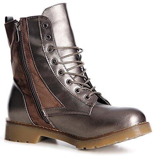 topschuhe24 1015 Damen Worker Boots Stiefeletten Schnürer Silber