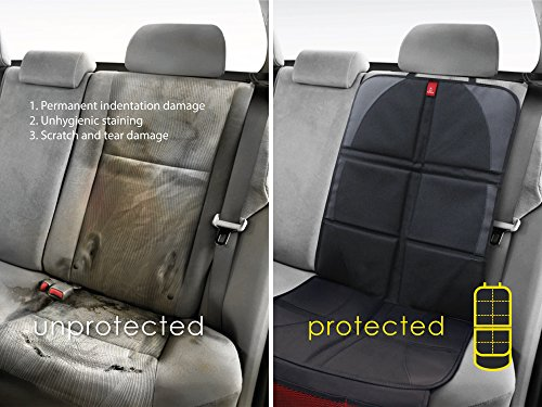 ROYAL RASCALS Car Seat Protector | Protects upholstery with padded cover | Organiser Pockets | Universal size | Baby and toddler car seats | Isofix | Forward and rear facing child seat liner | Heavy duty stain protection | PREMIUM PRODUCT