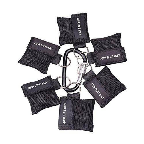 6 Stücke CPR Maske mit Karabinerhaken CPR Mask RESPI-Key Beatmungsmaske Schlüsselanhänger Beatmungshilfe Notfalltuch Taschenmaske Erste Hilfe