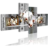 Bilder 200x90 cm - XXL Format - Fertig Aufgespannt - TOP - Vlies Leinwand - 4 Teilig - Wand Bild - Kunstdruck - Wandbild - Blumen 020110-102 200x90 cm