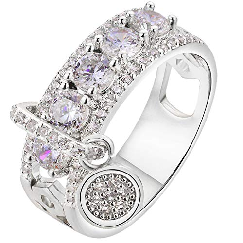 Strung Frauen Kreative Voller Diamanten Multicolor Ring Damen Schmuck Ehering Ehering Eternity Band Ring Cocktail Schmuck (Cartier Ehering Gold)