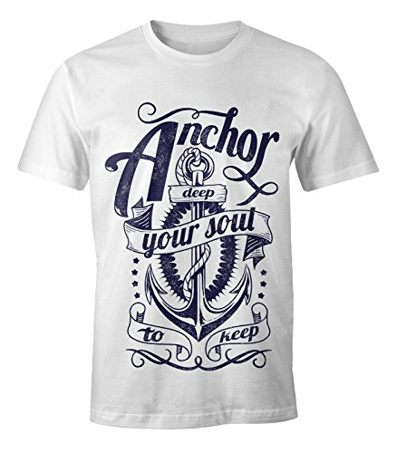Herren T-Shirt - Anker Motiv Aufdruck Anchor your Soul Seemann - Moonworks Weiß