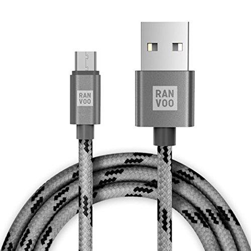 Miniatur-USB-KABEL Die Ummantelung aus Nylongewebe und 1,5M Haltbar, Kompatibel mit allen Android Handys, Space Grau