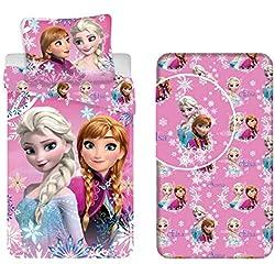 LTP Frozen Sisters Two 3pezzi Juego Cama Individual Funda Nórdica + Almohada + Sábanas C/Bajera algodón Ropa de Cama Infantil
