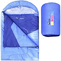 Alfreco Envelope Sleeping Bag – Lightweight Portable, waterproof, Comfort with Compression Sack One Size Perfect for 3 Seasons Outdoor Camping Travelling Hiking Backpacking (Blue)