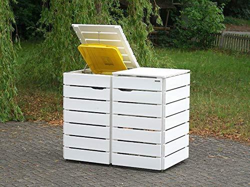 2er Mülltonnenbox / Mülltonnenverkleidung 240 L Holz, Deckend Geölt Weiß - 2