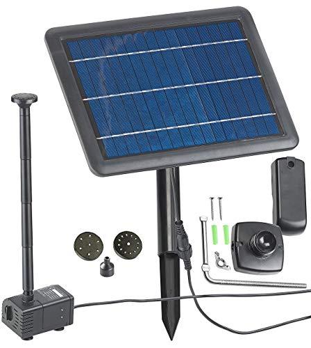 Royal Gardineer Teichpumpe: Teich- und Springbrunnen-Pumpe mit 4-Watt-Solarpanel und Akkubetrieb (Teichpumpe Solar) Watt-solar-panel