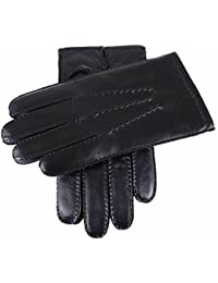 Black Cashmere Lined Touchscreen Leather Gloves by Dents