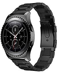 Malloom Banda de acero inoxidable correa para Samsung Galaxy Gear S2 Classic SM-R732 (negro)