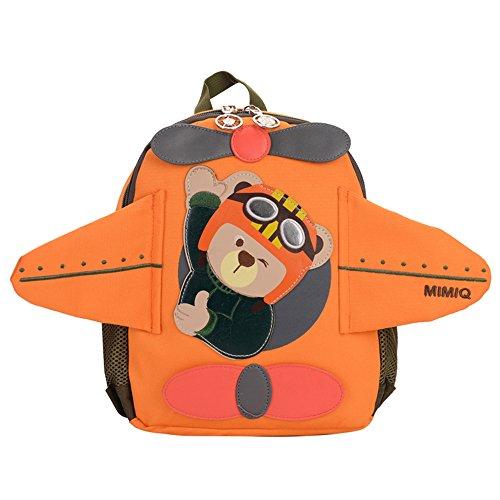 erthome Kinder Rucksack Baby Mädchen Jungen niedlichen Cartoon Bär Flugzeug Schultasche (Orange, 29 x 24 x11.5 cm) (Make-up Erweiterbar Tasche)