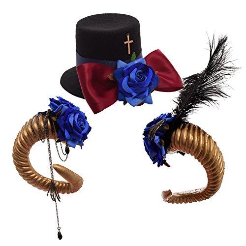 BLESSUME viktorianisch Punk Mini oben Hut Haar Clip Schaf Hörner Kopfbedeckungen Cospla Foto (Damen Hüte Piraten)