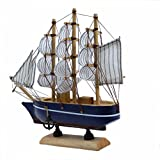 Handmade Wooden Sailing Ship Figurine | Fabulous Smart Home Decor Showpiece - Handcrafted Tabletop Decoration Model | Best Gift Idea | Small Tabletop Office Desc Show Pieces | Nautical Kids Toys - 19.5 X 18 CM By DAISYLIFE