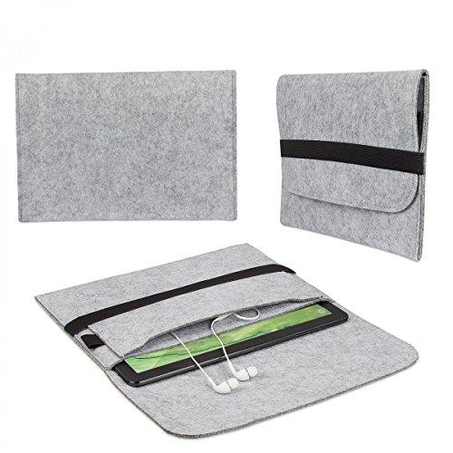 eFabrik Hülle für Trekstor SurfTab Twin 10.1 Filz Tasche Tablettasche Sleeve Case Soft Cover Schutzhülle Filz hell grau