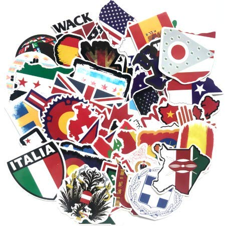 Banderas nacionales Pegatinas Juguetes para Niños Países Mapa Pegatina de viaje a DIY Scrapbooking Maleta Laptop Car Motorcycle 50pcs