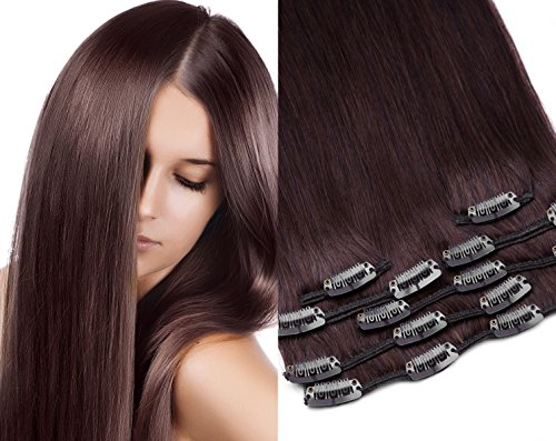 GlamXtensions Clip In Extensions Set für komplette Haarverlängerung 100% Echthaar 7 teilig 70g hochwertigeres Remy Haar 45 cm Clip-In Hair Extension Nr. 4 schokobraun braun -