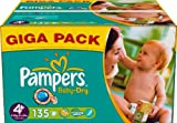Ancienne version - Pampers - 81336801 - Baby Dry Couches - Taille 4+ - Maxi+ 9-20 Kg - Gigapack x 135