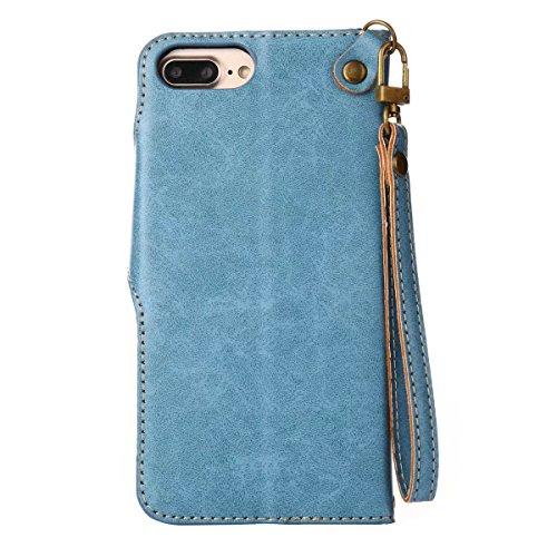 Cover iPhone 8 Plus Custodia, Ougger Tessuto Stile Portafoglio PU Pelle Magnetico Morbido Silicone Flip Cover Bumper Protettivo Gomma Borsa Custodie per Apple iPhone 8 Plus con il titolare della Carta blu