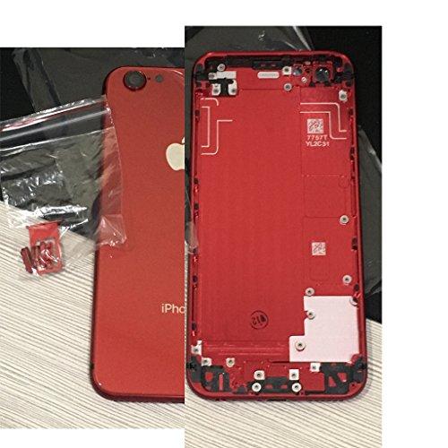 Schutzhülle für iPhone 6/6S/7, 11,9 cm (4,7 Zoll), Ersatz für iPhone 8 (4,7 Zoll), Akkufachdeckel, Metallgehäuse, Rückseite aus Glas, iPhone 6s 4.7 Inch, rot