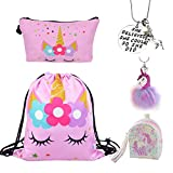 DRESHOW 5 Pack Unicorn Gifts for Girls Unicorn Drawstring Backpack/Make Up Bag/Necklace/Fluffy Llaveros/Brazalete de regalo para fiestas navideñas