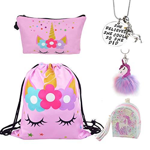 DRESHOW 5 Pack Unicorn Geschenke für Mädchen Unicorn Kordelzug Rucksack/Make Up Bag/Halskette/flauschige Schlüsselanhänger/Armband Geschenk-Sets für Party Weihnachten -