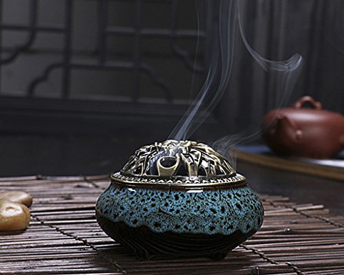 BXT Vintage Exquisite Ceramic Carved Incense Burner Holder Fit for Cone Stick Coil Incense (Blue-A)