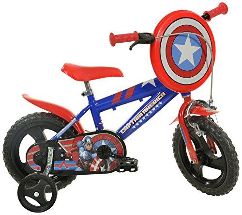 Dino 412 UL-CA - Bicicletta per Bambino Captain America, Blu/Rosso