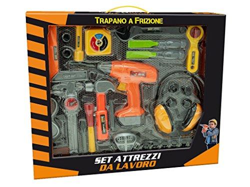 TEOREMA Satz-Set Werkzeug Werkbank mit Bohrmaschine a Kupplung und Headset, Farbe Orange, Gelb, Schwarz, Grau, 65692