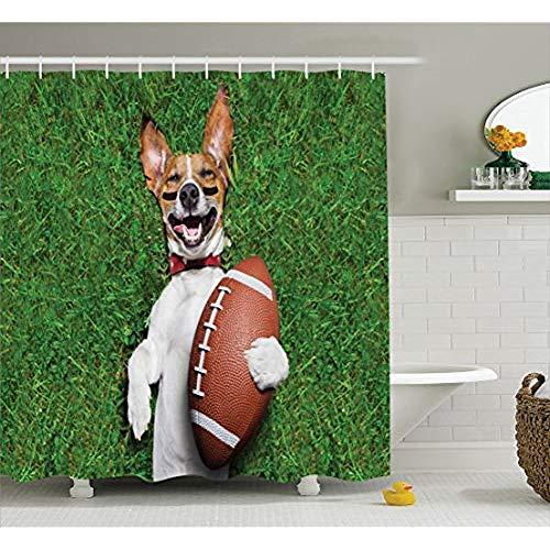 """KYCD Sport Dekor Kollektion, Fussball Hund Holding einen Rugby Ball und Lachen Laut witzigen Comic Witz Bild drucken, Polyestergewebe Badezimmer Duschvorhang mit Haken, Grün Peru Weiss 72\"""" x 72\"""""""