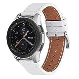 WFEAGL Compatible avec Bracelet Samsung Watch 42mm 46mm, Bande en Cuir à dégagement Rapide, Grain supérieur Compatible avec Samsung Galaxy & Gear S4,S3,S2,S1 (20mm, Blanc+Boucle Argent Square)