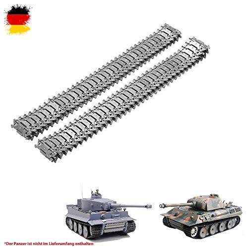 Original Metallketten von Heng Long, Upgrade Kit für u. a. German Tiger I und German Panther RC Panzer 3818, 3818-1, 3819, 3819-1, Ersatz-Ketten, Tank, RC Modellbau, Kettenfahrzeug, Ersatzteil (Rc Airsoft Tank)