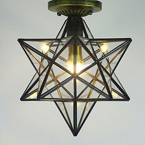 Deckenlampe Retro Fünf-spitze Stern Lampe Glas Industrie Loft Metall Japanische Laterne Lichter Vintage Kronleuchter Restaurant Bars Cafe Dachboden Buch Lichter (Stoff : Transparent glass)
