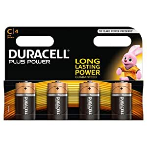 Duracell MN1400 Plus Power Alkaline C Size Batteries, 4 Batteries
