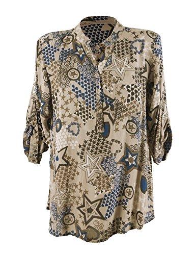 ... Knopfriegel Longbluse Hemdbluse Braun. Moda Italy Damen Bluse  Fischerhemd mit Sternen Muster V-Ausschnitt und langen Ärmel mit Knopfriegel