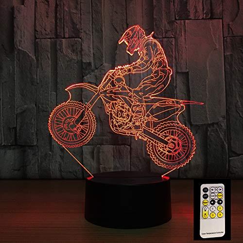 Mddjj 3D Motocross Bike Night Remote Touch Control Illusion Table Lamps 7 Colors Usb Change Desk Lamp Lamp Night Light Kids'S Gift Schlafzimmerdekoration