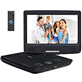 NAVISKAUTO 10,1 Zoll DVD Player HD Tragbarer DVD Player 1024 * 600 5 Stdn. Akkudauer 270°Drehbarer Portabler DVD Player Auto Memory SD USB AV IN Out PS1028B