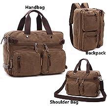 BAOSHA HB-22 Vintage lienzo bolso de mano hombres del maletín mochila Convertible bolsa de ordenador portátil mochila de viaje senderismo mochila marrón café 38.5 x 28.5 x 13 CM (Café)
