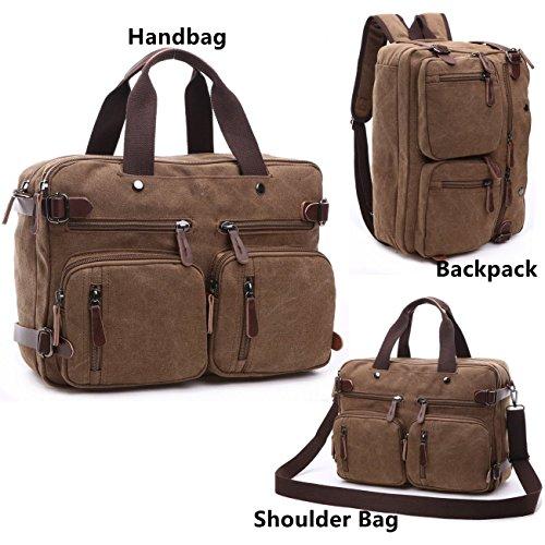 Imagen de baosha hb 22 vintage lienzo bolso de mano hombres del maletín  convertible bolsa de ordenador portátil  de viaje senderismo  marrón café 38.5 x 28.5 x 13 cm café