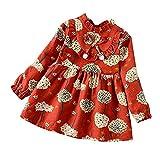 XINAINI Babykleider MäDchen Baumwolle Langarm Weihnachtskleid Blumig Süß 3D Drucken Bekleidung Elegant Prinzessin Kleid Herbst Winter T-Shirt Kleid Geburtstag Party Mini Kleid(4XL/ 5 Jahre Alt,rot)