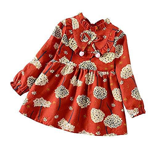 XINAINI Babykleider MäDchen Baumwolle Langarm Weihnachtskleid Blumig Süß 3D Drucken Bekleidung Elegant Prinzessin Kleid Herbst Winter T-Shirt Kleid Geburtstag Party Mini Kleid(3XL/ 4 Jahre Alt,rot)