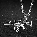VAWAA Nuevo Llegar Hombres Mujeres Punk Ak47 Pistola Joyería Hip Hop Cuello Pistola Uzi Pistola