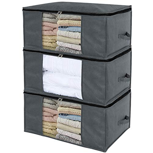 Lifewit 3 pezzi sacchetto di organizzazione di immagazzinaggio da tessuto non tessuto spesso contenitore domestico deposito delle ideale per indumento maglioni comodini coperte
